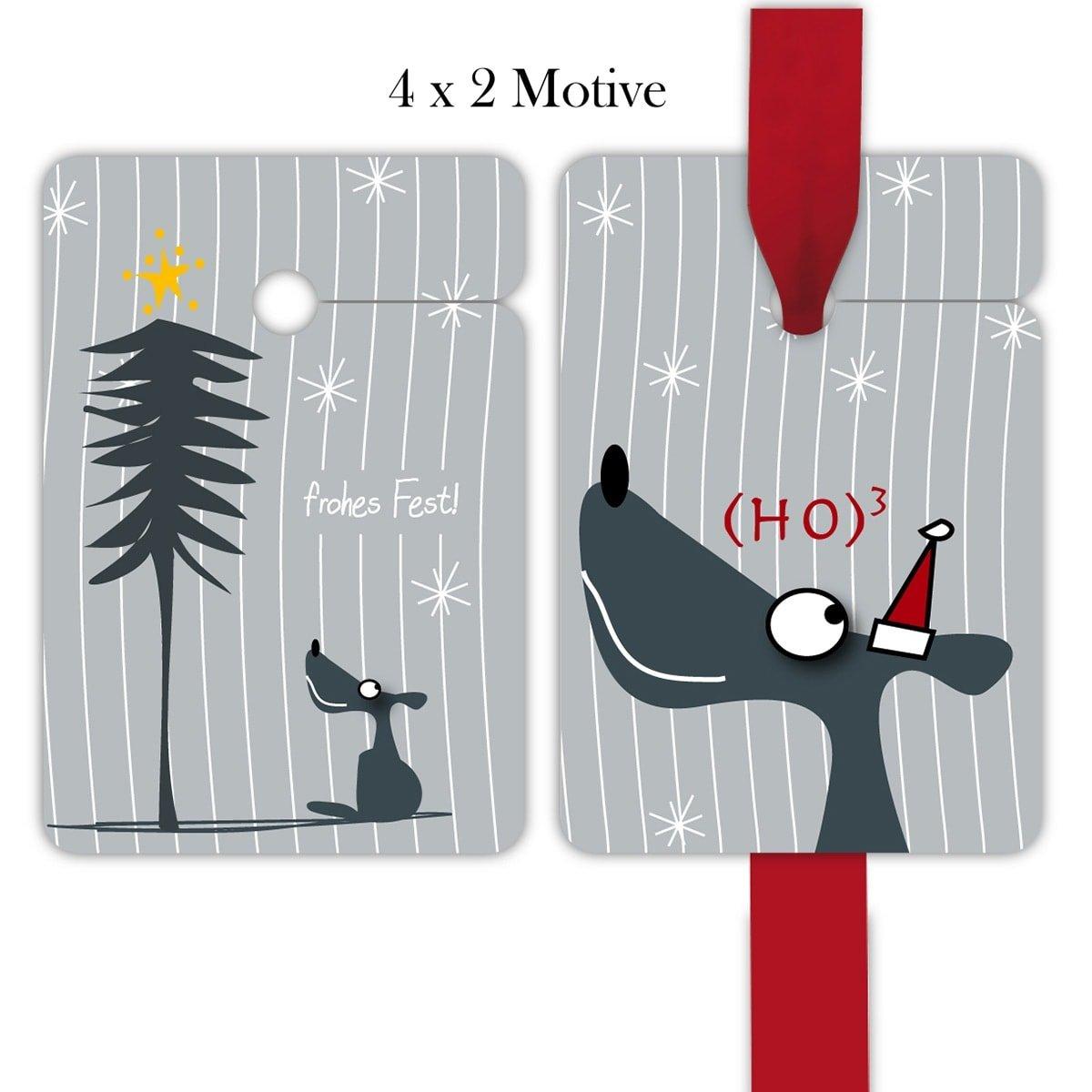 Kartenkaufrausch 10x8 gestreifte Weihnachts Geschenkanhänger | Deko Geschenkkarten | Papieranhänger | Etiketten Format 10 x 6,9cm mit lustige Wolf: (Ho) 3 | frohes Fest