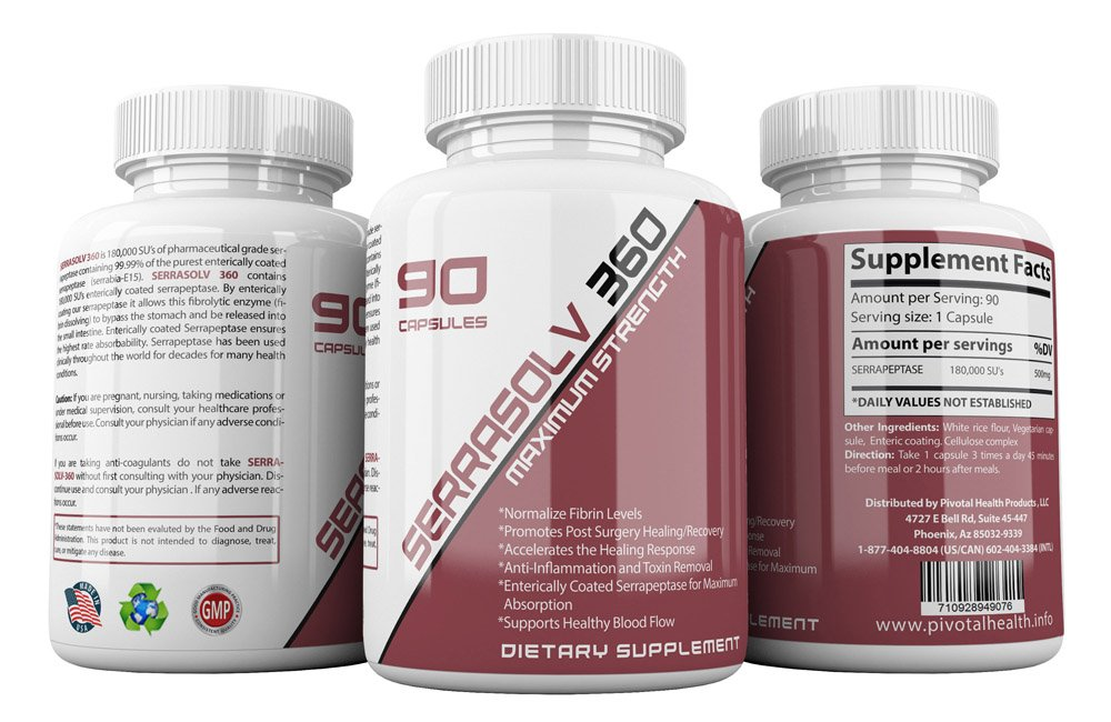 Extra Strength Scar Tissue Package (Limited Offer) Dissolve Scar Tissue Quickly - Highly Potent Scar Tissue Dissolving Enzyme Blend - Serrapeptase, Nattokinase & More - Serrasolv 360, Cap (90)