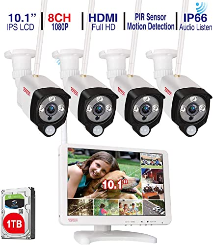 Audio Recording Tonton All-in-One Full HD 1080P Security Camera System Wireless with 10.1 IPS Monitor,8CH WiFi NVR,1TB HDD and 4PCS 2.0 MP Outdoor Bullet IP Cameras with PIR Sensor,Plug and Play