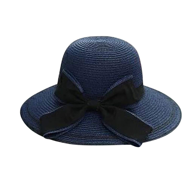 Sun Hat Floppy Foldable Ladies Women Bow Straw Beach Sun Summer Hat Wide Brim