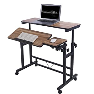 Adjustable Rolling Computer Laptop Desk Table Laptop Stand Poarmeey (Black)