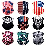 Sojourner 9PCS Seamless Bandanas Face Mask Headband Scarf Headwrap Neckwarmer & More - 12-in-1 Multifunctional for Music Festivals, Raves, Riding, Outdoors (Patriot 1)