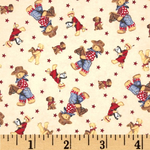- Fabric Traditions Flannel Tossed Cowboy Bears Ivory/Multi Fabric By The Yard