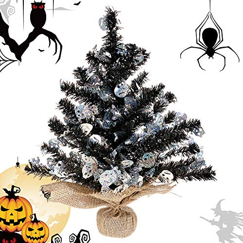 Joy&Leo Tabletop Skull Sequin Black Tinsel Halloween Tree, Easy to Assemble, for Small Spaces & Apartment & Fireplace & Party & Home & Office & Store & Classroom & Halloween Decorations -