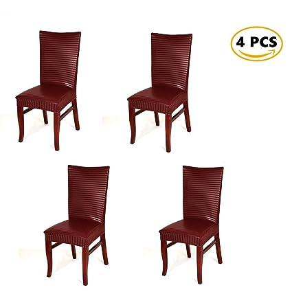 Worsendy Set de 4pcs de Fundas para Sillas,fundas para sillas PU,comedor fundas elásticas bielástico Extraíble funda, muy fácil de ...