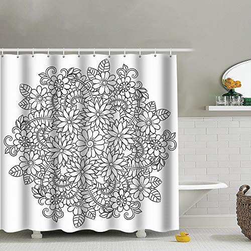 Flower Mandala Black White Round The Arts Nature Fabric Shower Curtain, Water-Repellent Liner for Master, Guest, Kid's, College Dorm Bathroom 60X72 Inch