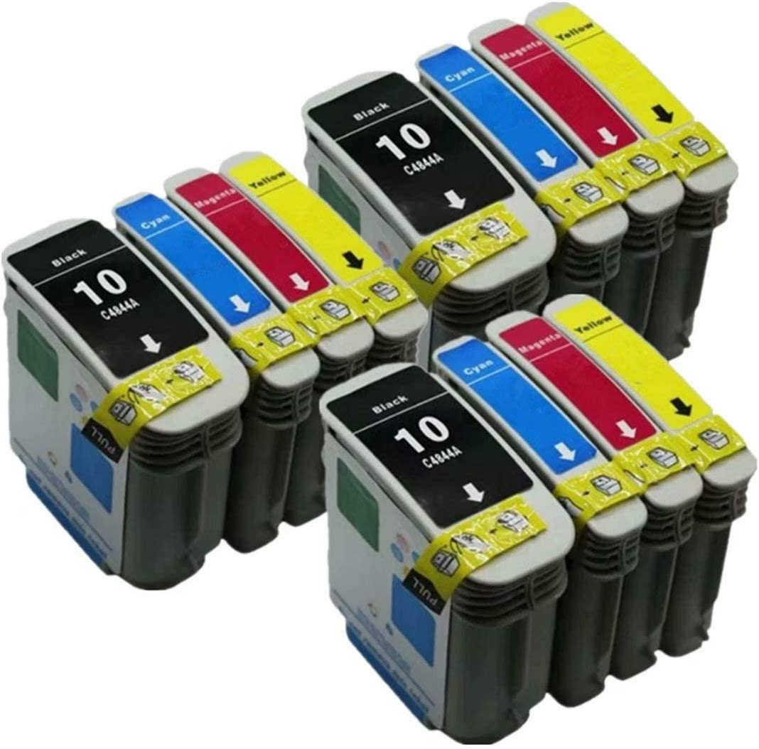 No-name Compatible Ink Cartridge Replacement for HP 10 HP10XL 10XL HP10 Designjet 110 Plus nr 70 Officejet Pro K850 K850dn 9100 9110 9120 9130 (3 Black 3 Cyan 3 Magenta 3 Yellow, 12 Pack)