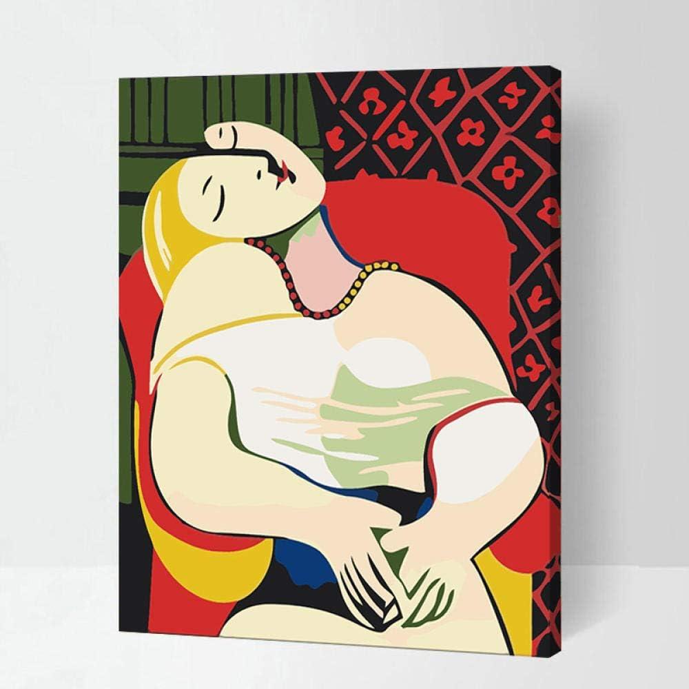 WOAILI Pintura al óleo Pinte por Number Kit Sueño Regalo para Adultos Niños Decoración navideña 40x50 cm con Marco de Madera