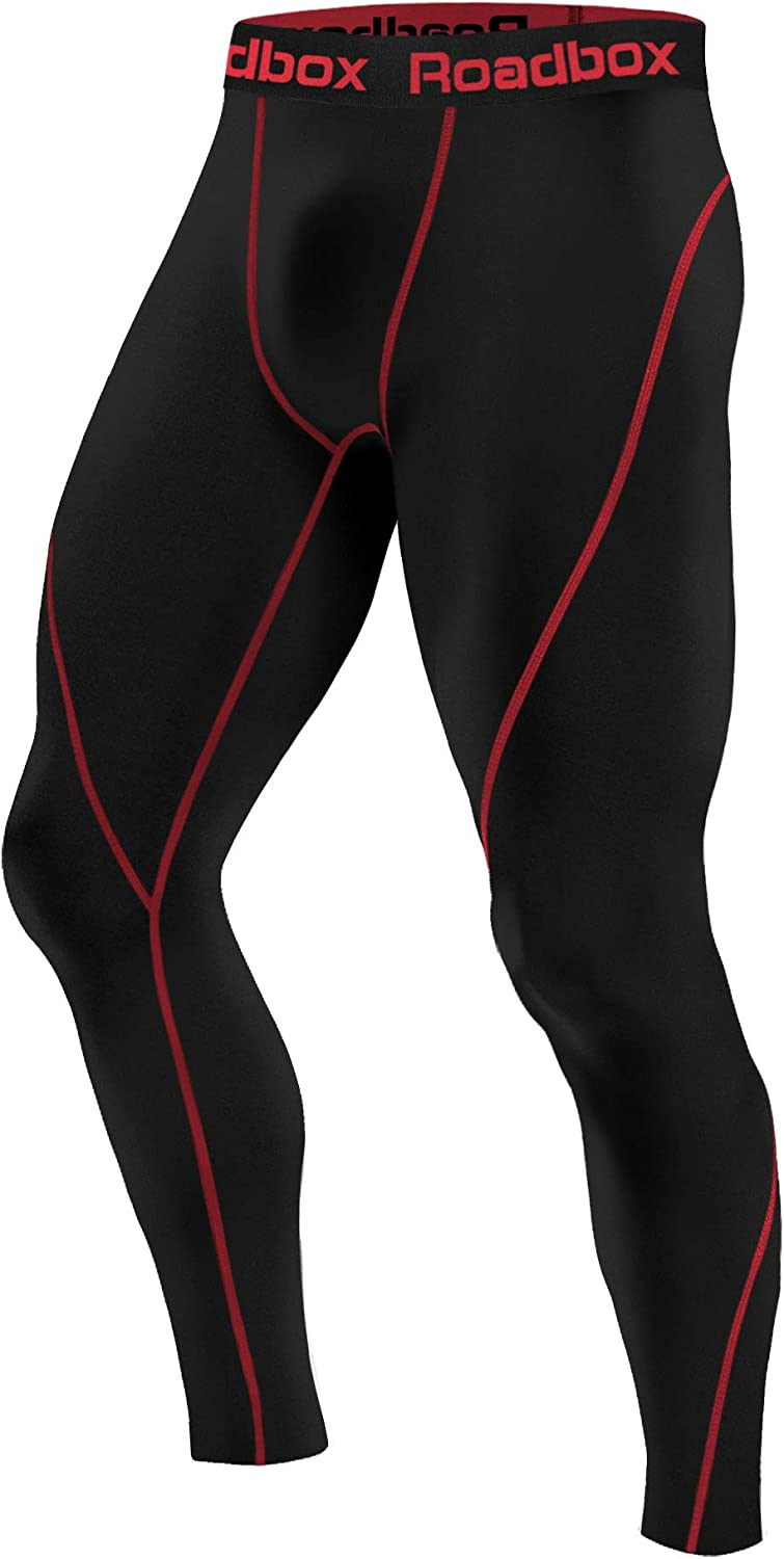 Roadbox 1 or 2 Pack Men's Compression Pants Thermal Workout Cool DrySports Leggings Tights Baselayer : Clothing