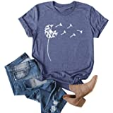 Cicy Bell Women's Dandelion Print T Shirts Cute Graphic Tees Short Sleeve Summer Cotton Tee Tops