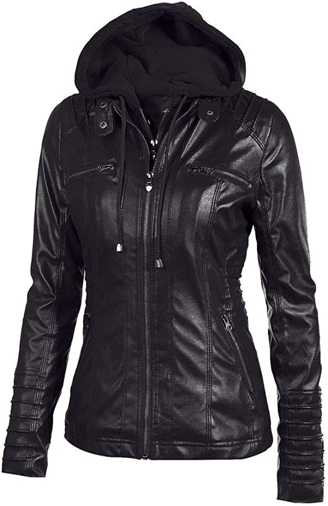 Fashion Vintage Women Biker Motorcycle Leather Zipper Jacket Overcoat Outwear Palarn Clearance Clothes