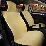 ChiTronic Faux Sheepskin Front Seat Cover Cushion - Soft Plush Synthetic Wool Bucket Seat Mat Protector for Car SUV, 1 Pack (Beige)