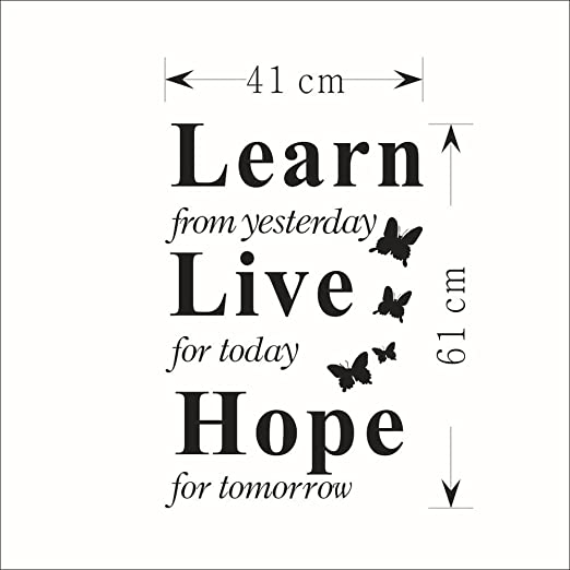 YFLDK Aprender De Ayer Live Hope Decor Vinilo Tatuajes De Pared ...