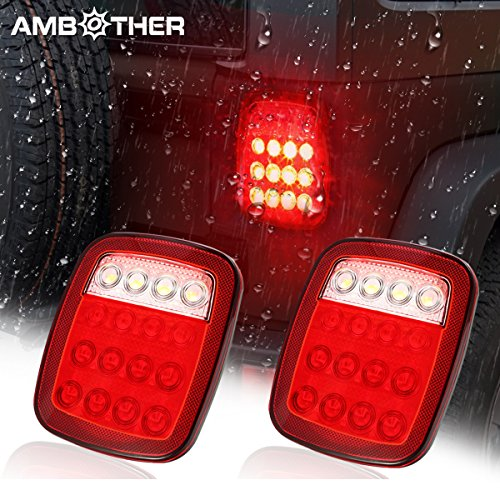 AMBOTHER LED Trailer Tail light Jeep Brake Turn Signal Reverse Running Back Up Stop Lights For Truck Pickup VAN RV SUV Bus Cargo Jeep YJ JK CJ Universal DC12V, Red/White,1 Year warranty