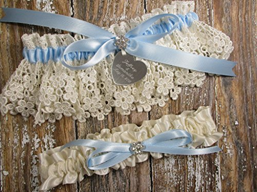 Ivory Lace and Something Blue Wedding Garter Set with Personalized Engraving