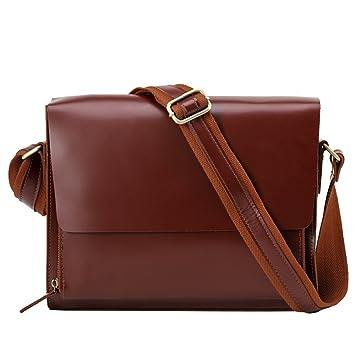 AFCITY maletín para Ordenador portátil Bolso Retro del Estilo británico Bolso Cruzado del Cuero del Bolso