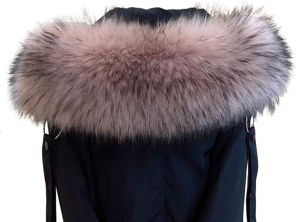 Mujer Cuello De Pelo Para Invierno Para Capucha Con Botones Azul Y Marrón 60cm Cuello De Piel Sintética Para Abrigo De Invierno Bufanda De Pelo De Imitación Cálida Para Mujer Amorar Ropa