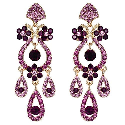 (EVER FAITH Bridal Gold-Tone Flower Vase Chandelier Pierced Dangle Earrings Austrian Crystal Purple)