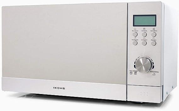 IKOHS Microondas Grill HW800 - Microondas con Grill con Función Horno, 800W, Capacidad de 23L, 5 Niveles de Potencia, Temporizador, Menú Automático 8, Cocción Multifrecuencia, color acero espejo: Amazon.es: Hogar