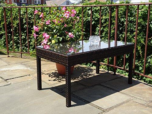 Rectangular Wicker Table (Patio Resin Outdoor Garden Yard Wicker Rectangular Coffee Table w/ Glass Dark Brown Color)