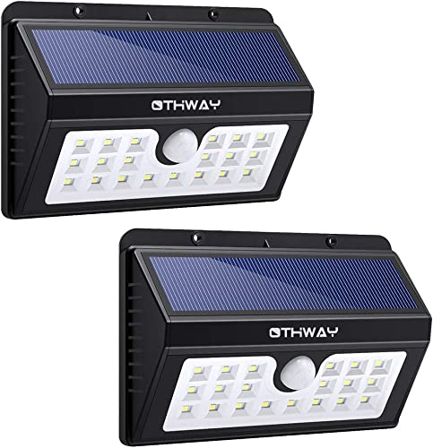 Solar Motion Sensor Lights OTHWAY 20 LED Bright Outdoor Waterproof Wall Lights Easy Installation Great Detection Range Security Deck Lights