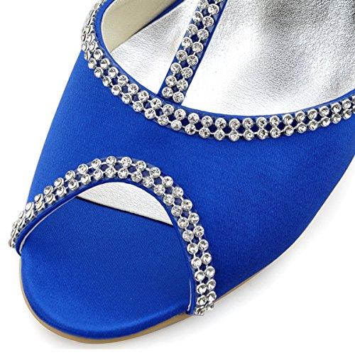 ElegantPark EP11086 Mujer Peep Toe Rhinestones Zapatillas Cuña Tacones Satén Boda Zapatos de Fiesta Azul