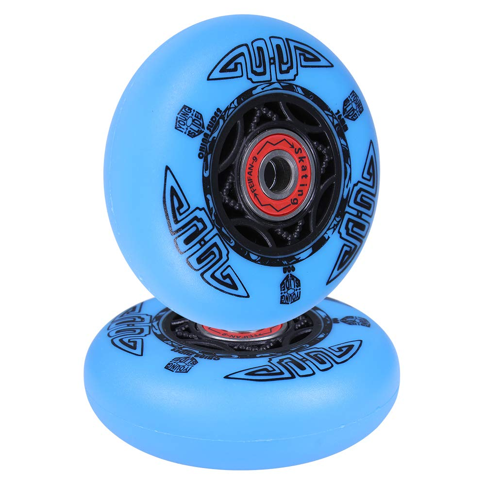 AOWISH 2-Pack 76mm Ripstik Wheels 90A Outdoor Asphalt Formulas Razor Ripsurf Ripstick Caster Board Replacement Wheel with Bearings ABEC-9 (Blue)