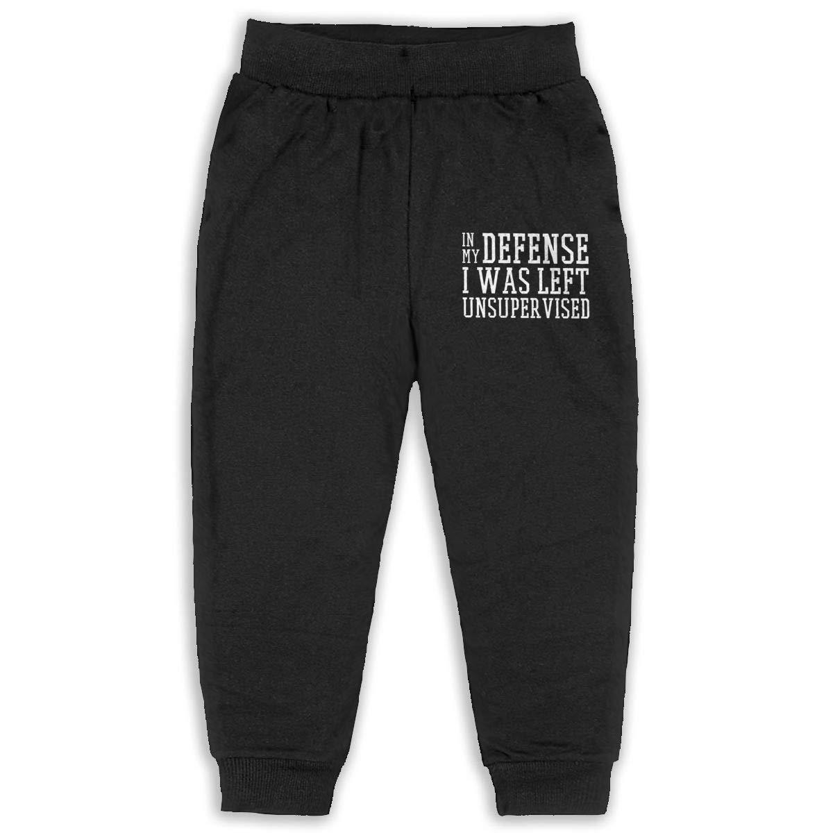 in My Defense I was Left Unsupervised Logo Kids Cotton Sweatpants,Jogger Long Jersey Sweatpants