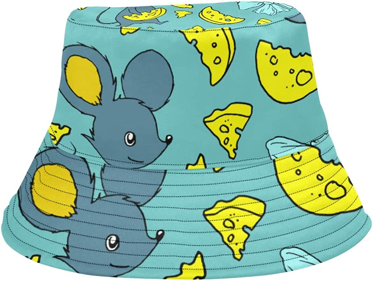 Eat Cheese Cute Mouse Summer Unisex Fishing Sun Top Bucket Hats for Kid Teens Women and Men with Packable Fisherman Cap for Outdoor Baseball Sport Picnic