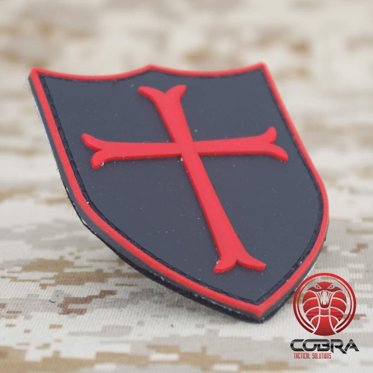 Cobra Tactical Solutions Military PVC Patch Crusader Cross//Kreuzritter Kreuz Black mit Klettverschluss f/ür Airsoft//Paintball f/ür Taktische Kleidung//Rucksack