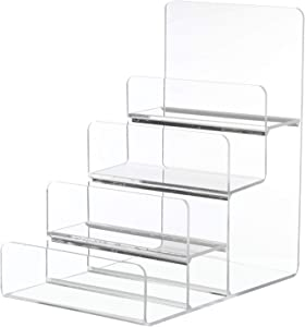 Cabilock Purse Display Stand Acrylic Wallet Holder 4 Layers Purse Stand Shelf Jewelry Glasses Display Riser Shelf Showcase Fixtures for Retail Store Home