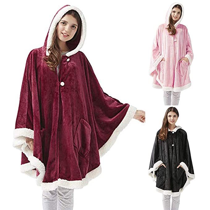 Sunhusing Womens Hooded Long Sleeve Artificial Gold Velvet Panel Plush Blanket Jacket Coat with Pocket at Amazon Womens Clothing store: