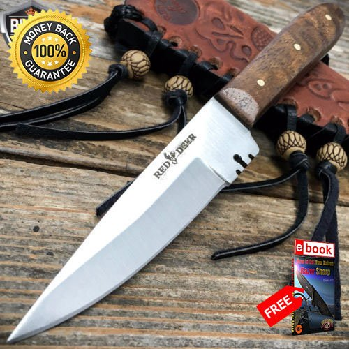 - 6'' Mountain Man Western Style Skinner Fixed Blade Trade Patch Knife Sheath For Hunting Tactical Camping Cosplay + eBOOK by MOON KNIVES