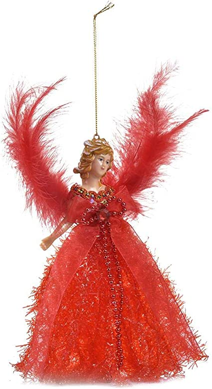 A:RED Xploit Christmas Tree Topper Fabric Angel Christmas Tree Topper Mini Angel Christmas Tree Pendant With Feather Wings For Christmas Decorations Xmas Tree Ornament