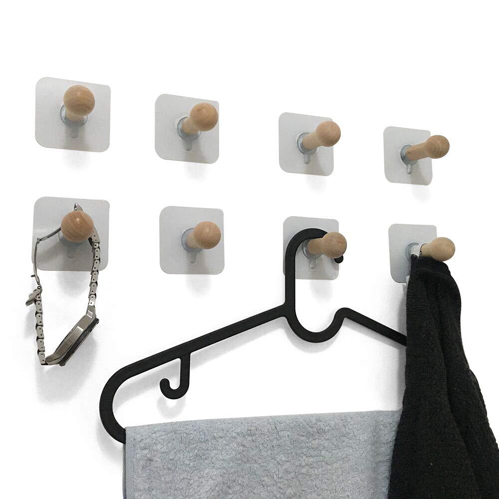 VTurboWay 8 Pack Adhesive Wall Hooks, No Drills Wooden Hat Hooks, Storage Wall Mounted Coat Hanging Hook for Coat, Wardrobe Closet Towel Key Robe Hook by VTurboWay (Image #1)