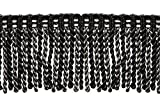 DecoPro 16 Feet Value Pack of 3 Inch Long Bullion Fringe Trim, Style# DB3 - Black, Silver Grey (5.4 Yards/5 Meters)