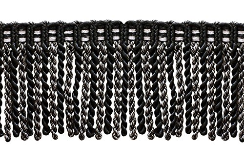 (DÉCOPRO 16 Feet Value Pack of 3 Inch Long Bullion Fringe Trim, Style# DB3 - Black, Silver Grey (5.4 Yards / 5 Meters))