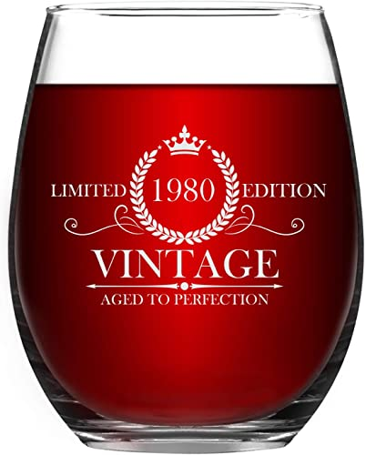 1980 40th Stemless Wine Glass for Women and Men, Vintage Aged to Perfection 1980 Wine Glass for Friends Anniversary 40th Birthday Xmas, 15 Oz Wine Glass