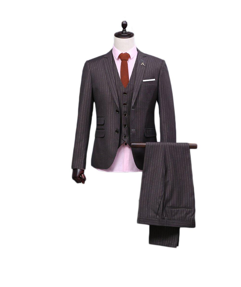 Love Dress Men's Thin Fit Stripe 3-Piece Plaid Suit Jacket Pant Vest 5XL