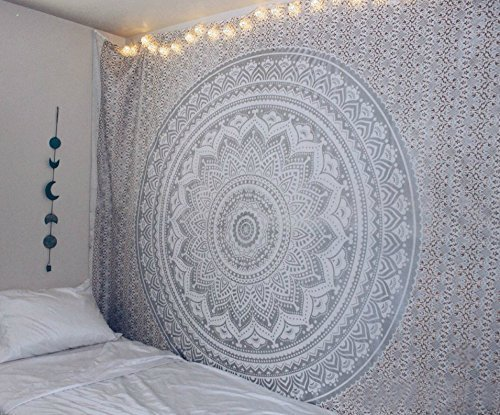 Exclusive Gray Ombre Tapestry by JaipurHandloom Mandala Tapestry, Queen, Multi Color Indian Mandala Wall Art, Hippie Wall Hanging, Bohemian Bedspread