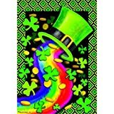 """Rainbow Hat"" – St.Patricks Day – STANDARD Size, 28 Inch X 40 Inch, Decorative Double Sided Flag – Exclusively Made in the USA – Copyrights and Licensed by Custom Decor Inc."