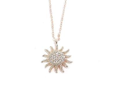 Silber Rose Gold Zirkonia Sun Anhänger Halskette für Frauen Modeschmuck