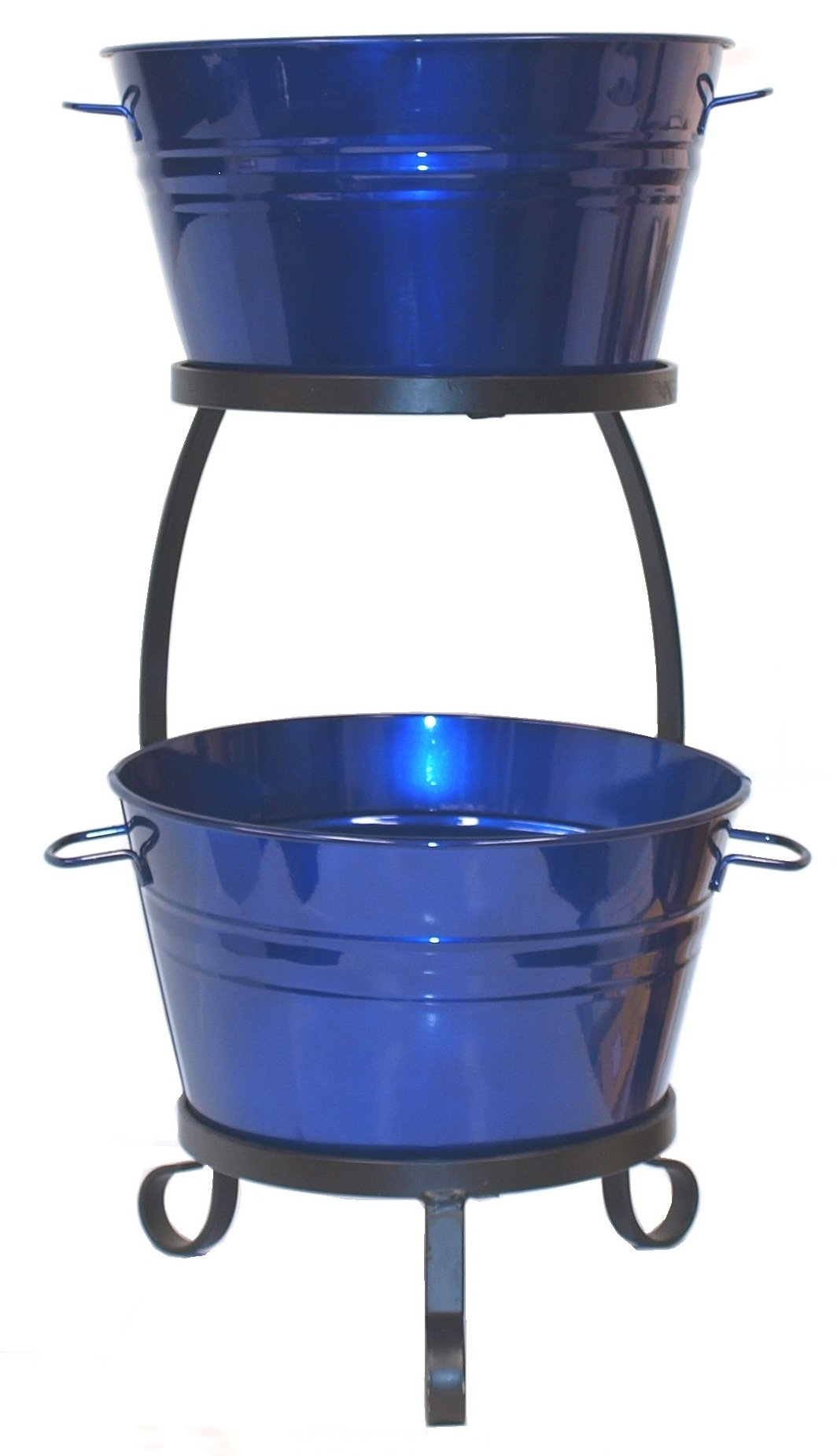 HIT 8020E GB Galvanized Heavy Gauge Steel Beverage Tub with Iron Stand, 13.5 by 30-Inch, Glazed Blue