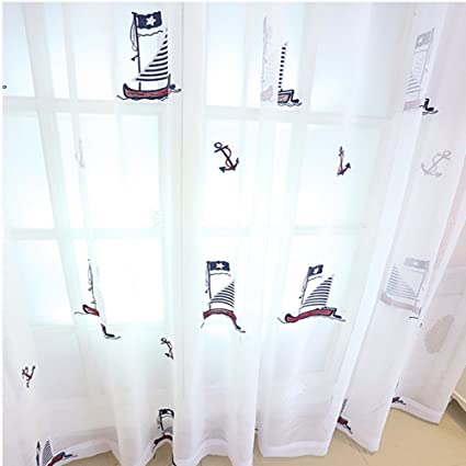Abreeze Sailboat Sheer Curtain For Living Room 2 Panels Embroidered  Nautical Voile Curtains For Kidsu0027
