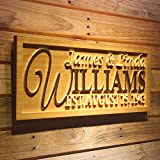 ADVPRO wpa0001 Personalized Family Name Sign Personalized Wedding Gifts Wall Art Rustic Home Decor Custom Carved Couples 5 Year Wooden Signs – Standard 23″ x 9.25″