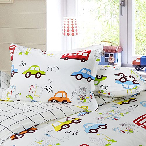 Brandream Kids Boys Bedding Cars Vehicles Duvet Cover Set 3-Piece Twin Size (No Comforter Included)