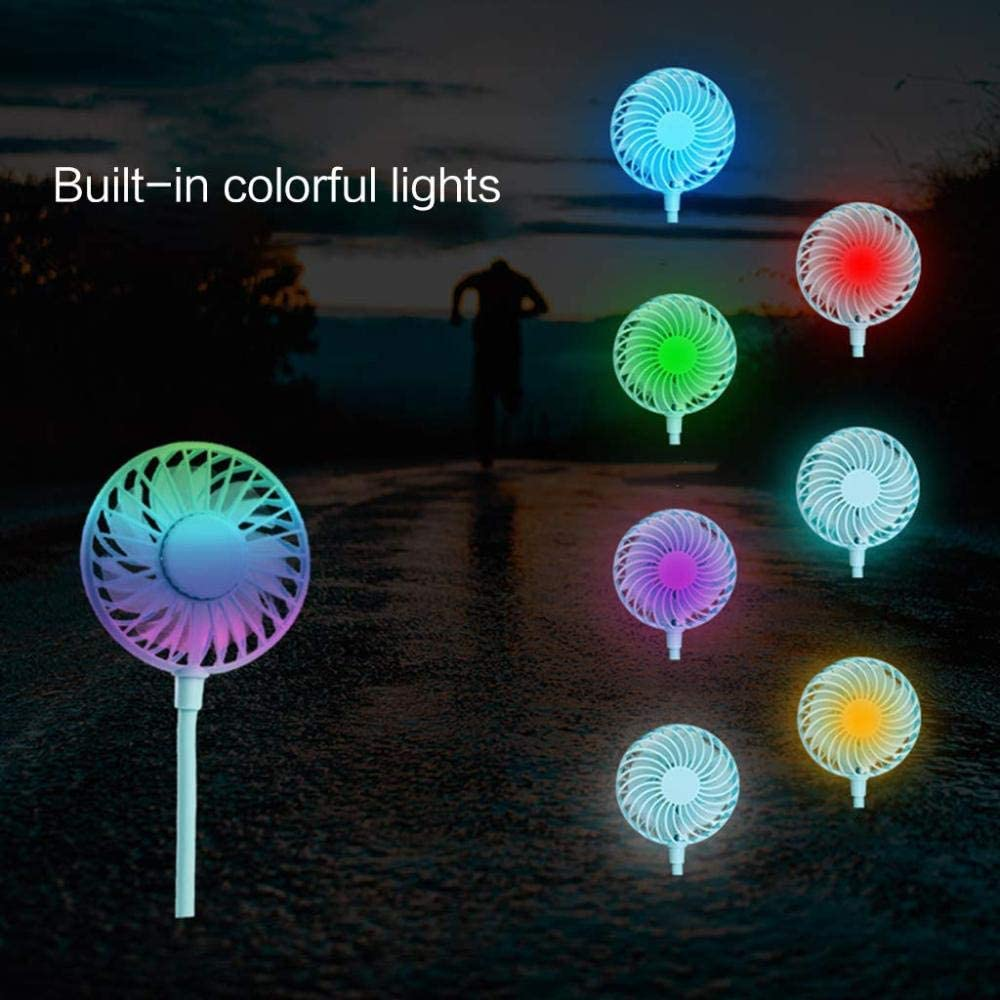 qybmcd 2019 Neck Style Fan New Mini Portable LED Light USB Rechargeable Fan Neck Hanging Style Dual Cooling Lazy Fan for Student Home School Use Supplies,Black