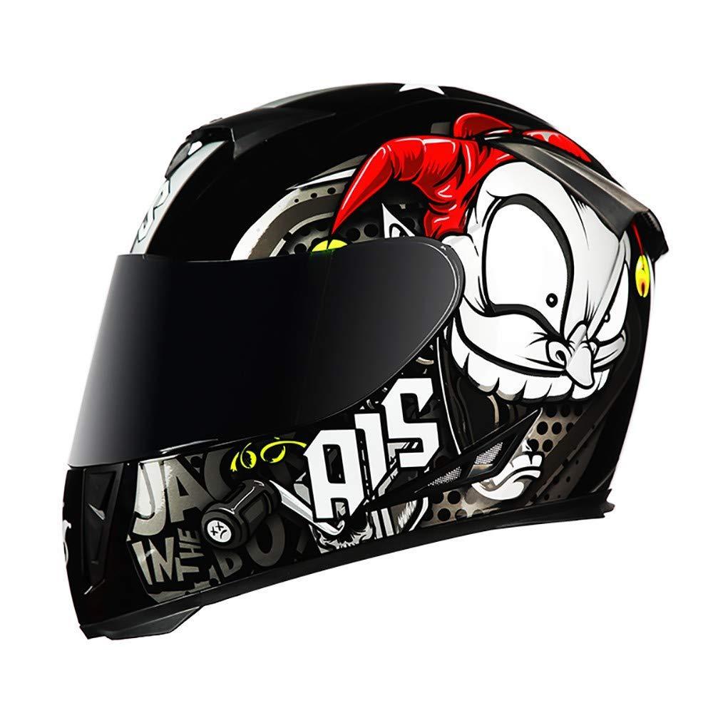 Casco De Motocross Sistema De Comunicaci/ón De Intercomunicador Integrado Extreme Sport QueenYA Casco Integral De Motocicleta Casco De Moto C/ómodo con Visores Dobles Antiniebla