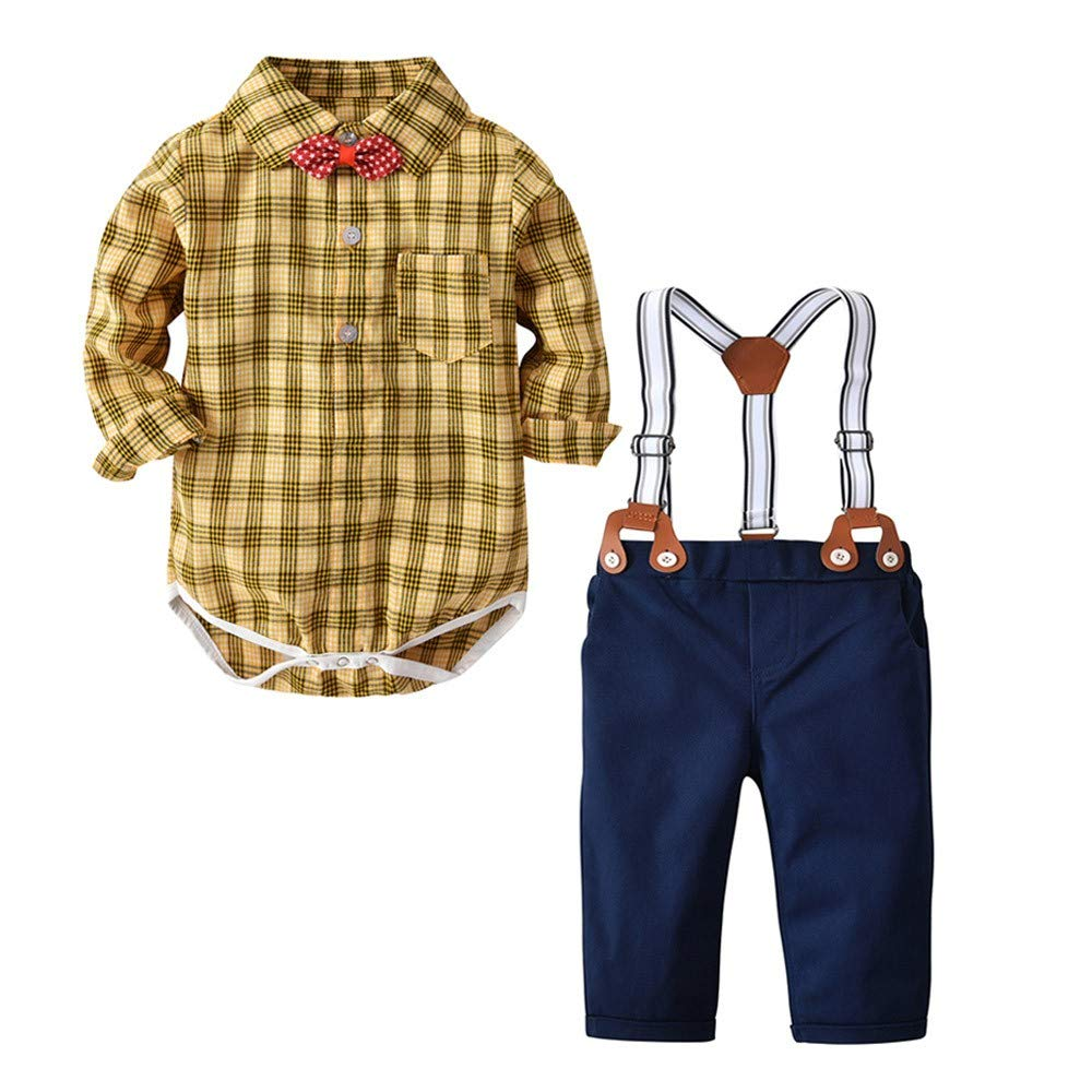 Toddler Baby Boy 6 Months-3T Bow tie Gentleman Plaid Tops T-Shirt Romper Trousers Pants Sets ON-123