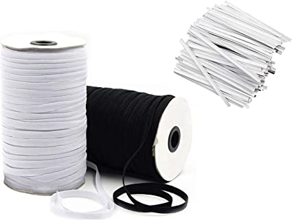 Amazon Com Elastic Bands For Sewing 1 4 Inch For Maks Elastic String For Masks 10 Yd Black 10 Yd White With 40 Nose Bridge Strips Diy Face Mask